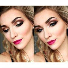Mac tan pigment on the lid with Swiss chocolate and brown down in the crease and mba cosmetics lipstick in burlesque