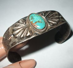 Old Fred Harvey Era Sterling Silver & Turquoise Cuff Bracelet, Hand-Stamped & Repousse | eBay