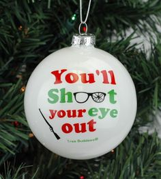 Tree Buddees You'll Shoot Your Eye Out Glass Christmas Ornament - Dollar tree christmas diy Vinyl Christmas Ornaments, Clear Ornaments, Christmas Table Decorations, Vintage Ornaments, Christmas Balls, Glitter Ornaments, Ornaments Ideas, Glitter Cups, Painted Ornaments