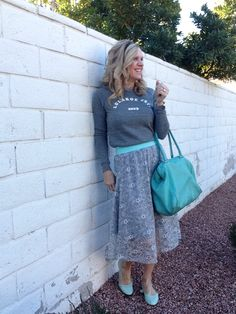 The LulaRoe Lola skirt is on trend! No need to wait for a special occasion to wear her...just toss on a sweatshirt and some flats and you're good to go in comfortable style! #lularoe #lularoeLola