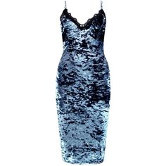 Boohoo Tammy Crushed Velvet Lace Trim Slip Dress | Boohoo (145 RON) ❤ liked on Polyvore featuring dresses, blue slip dress, blue dress, slip dress and boohoo dresses