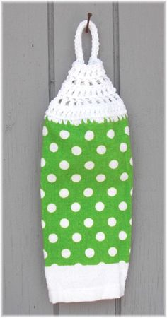 Hanging Kitchen Towel White Polka Dots on Lime by DebbieCrochets, $4.00