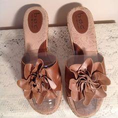Born Concept Tan Leather Cork Wedge Slide On Sandals Size 9 #BornConcept #PlatformsWedges