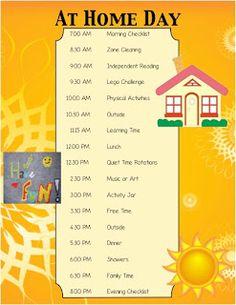 Summer/Break Schedule for kids