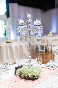 Reception Dinner Table Centerpiece Tall Silver Candle Holder | The-Palms-Chico-California-Wedding-Photographer
