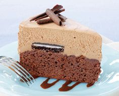Chocolate Brownie Cheesecake with Cinnamon Fudge Sauce  An easy, moist brownie layer topped by a rich, no-bake cheesecake top is made even more decadent when served with a cinnamon fudge sauce. Unlike standard cheesecake recipes that must chill overnight before slicing, you can dig into this one just 2 hours after making - no patience required!