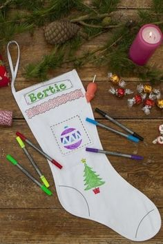 Doodle Christmas Stocking #ChristmasStocking #StockingIdeas #KidsStocking #ChristmasTime #Doodle #PrettyStockings #TisTheSeason