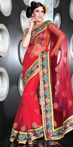 Red Net Saree 18996 With Unstitched Blouse