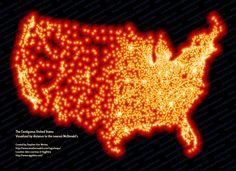 Elke maand een kaart van Amerika in de spotlight. Deze keer een kaart die aangeeft wat de afstand is tot de dichtstbijzijnde McDonalds.