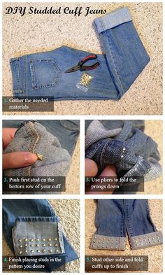 20+ FabArtDIY Ways To Rejuvenate Your Old Jeans diy-studded-cuff-jeans