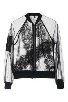Sheer Lace Bomber Jacket