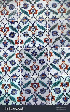 Ancient Iznik Tiles with floral Pattern in Topkapi Palace, Istanbul, Turkey.