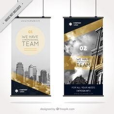 Blue and golden business roll up Free Vector