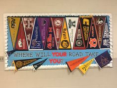 College Signing Day, Career College, College Advisor, Counselor Bulletin Boards, College Bulletin Boards, School Counseling Office, School Counselor, Colorful Bulletin Boards, College Pennants