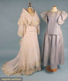 Two Organdy Summer Gowns, Augusta Auctions, April 2009 Vintage Fashion and Textile Auction, Lot 396 Summer Gowns, Filipiniana, Clothing And Textile, Vintage Weddings, Bridesmaid Dresses, Wedding Dresses, Historical Clothing, Wedding Attire, Bodysuits