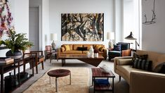 432 Park Avenue // The pied-à-terre of famed Brazilian shoe designer An ode to Mid Century style. ~Interior design by Andre Mellone of Image by for 📷 Architectural Digest, Living Room Paint, Living Room Decor, 432 Park Avenue, Contemporary Building, Walnut Table, Brown Furniture, Home And Deco, Mid Century Design