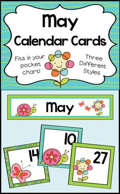 Calendar cards for your May calendar. 3 different number sets for patterning. These fit in your pocket chart.