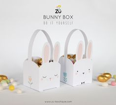 Easter Bunny Box Free Printable / Freebie via Zü Printable Box, Bunny Party, Easter Party, Animal Crafts For Kids, Diy For Kids, Easter Crafts, Holiday Crafts, Easter Projects, Christmas Diy