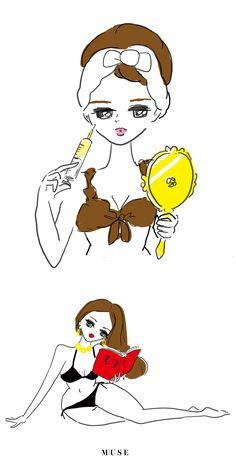 illustration by Akiko Hiramatsu for otonaMUSE fashion magazine 2020 Disney Characters, Fictional Characters, Snoopy, Magazine, Disney Princess, Illustration, Beauty, Art, Fashion