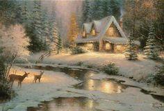 Deer Creek Cottage ---Thomas Kinkade Christmas Card, Not Postcard