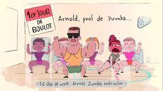 Arnold, Zumba Teacher - Pop culture reference in een nieuw, ietwat duister jasje.