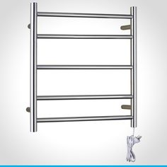 Resonance highly polished 304 grade stainless steel 5 bar heated towel rail