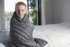 Weighted Comforter, Grey Fabric, Fabric Design, Comforters, Winter Jackets, Sleep, Chain, Happy, Kids