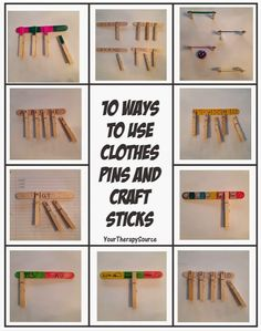 Therapy Idea of the Week: 10 Ways to Use Clothes Pins with Craft Sticks- pinned by @PediaStaff – Please Visit ht.ly/63sNtfor all our pediatric therapy pins