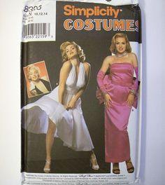 Simplicity 8393 Marilyn Monroe Norma Jeane Halter Evening Dress Costume 10 12 14 #Simplicity