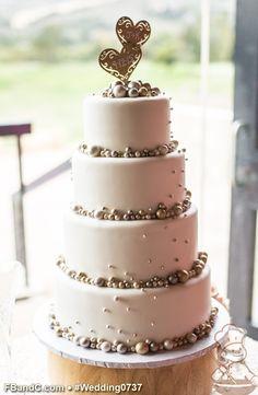 "Design W 0737 | Fondant Wedding Cake | 12""+10""+ 8""+ 6"" | Serves 120 | Fondant Cover, Fondant Pearls | Custom Quote"
