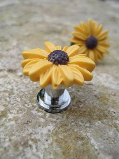 Petite Drawer knobs with Mustard Yellow Daisy Flower for by DaRosa, $4.50
