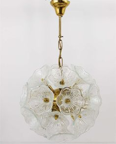 Italian Sputnik Glass Flowers Chandelier Brass Blowball From The 1960s | From a unique collection of antique and modern chandeliers and pendants  at http://www.1stdibs.com/furniture/lighting/chandeliers-pendant-lights/