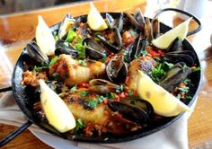 Paella with chicken, Spanish chorizo and mussels made by Dakota Soifer, chef and owner of Cafe Aion in Boulder.