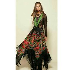 Gorgeous boho skirt - red, black and green Look Hippie Chic, Boho Look, Gypsy Style, Boho Hippie, Bohemian Style, Boho Chic, Boho Fashion, Fashion Outfits, Womens Fashion