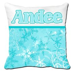 Personalized Girls Frozen-Inspired Snowflake Pillow Sham Cushion Cover Name Pillowcase Bedroom Kids Toddler  ANY Color