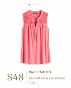 Stitch Fix: Papermoon Kyndall Lace Detail Knit Top - Love the pretty coral pink color and the lace detail