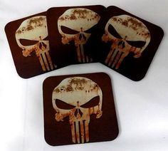 Punisher Skull Bar 4 Coaster Wedding Favor Drink Set by Heygidday