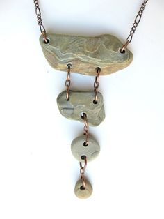 Stone cairn necklace :) a new style! Hand-drilled stones that I gathered on the shores of Lake Michigan!