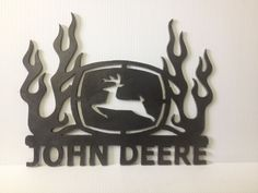 John Deere Metal Advertising Sign Flames, Plasma Cut