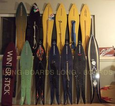 Quite the collection of Wintersticks. The grand-daddy of powder surfing
