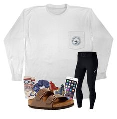 """""""I got a phone!!!"""" by magsvolleyball2 ❤ liked on Polyvore featuring NIKE, HUE, Topshop, L.L.Bean and Birkenstock"""