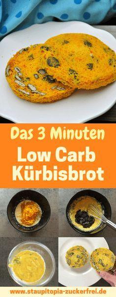 Für die einen mag es ein Low Carb Kürbisbrot sein, für die anderen Low Carb Kürbisbrötchen. Für mich ist es jedenfalls das schnellste Low Carb Kürbisbrot Rezept. Um das Low Carb Kürbisbrot zu backen benötigst du nur 3 Minuten Zeit und eine Mikrowelle. Schneller und leichter kann ein Low Carb Brotrezept wirklich nicht sein. Hol dir jetzt das Rezept auf www.staupitopia-zuckerfrei.de #lowcarbkürbisbrot #lowcarbbrot #brotbacken #brotbackenschnell #kürbisrezept #staupitopia