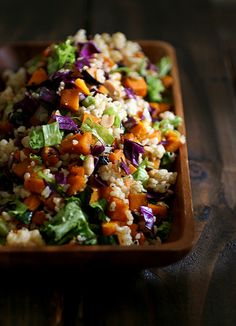 brown rice and pumpkin salad (pumpkin, brown rice, red cabbage, lettuce, onion, sesame seeds, mixed nuts & raisins)