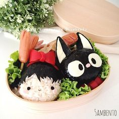 Not sure which one is cuter! >< -- #ghibli #kikisdeliveryservice #kiki #jiji #bentoart #kawaii #cute #anime #manga #otaku Posted with permission from @5ambento