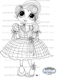 INSTANT DOWNLOAD Digital Digi Stamps Big Eyed Doll by SherriBaldy
