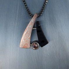 Oregon Sunstone Jewelry. This new piece features mokume gane, a bezel set Oregon Sunstone, and Oregon Basalt.