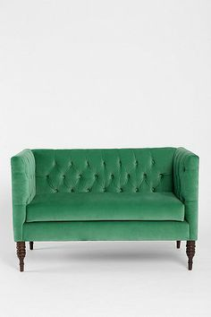 Plum & Bow Tufted Settee, gorgeous in green.  LOVE LOVE LOVE.
