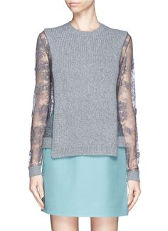 VALENTINO - Lace sleeve sweater