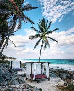 "200 Likes, 6 Comments - Beaches Hotels Travel (@beachesandhotels) on Instagram: ""Bed on the beach in Tulum, Mexico Tag who you would take with you! _ Photo Credit: @pinnywooh…"""