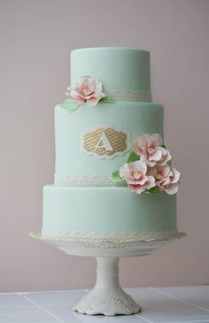 Mint green fondant, custom monogram, vintage sugar flowers